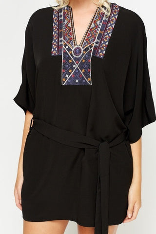 Aztec Collar Tunic | BLACK