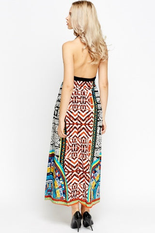 Aztec Print Maxi Skirt | ORANGE