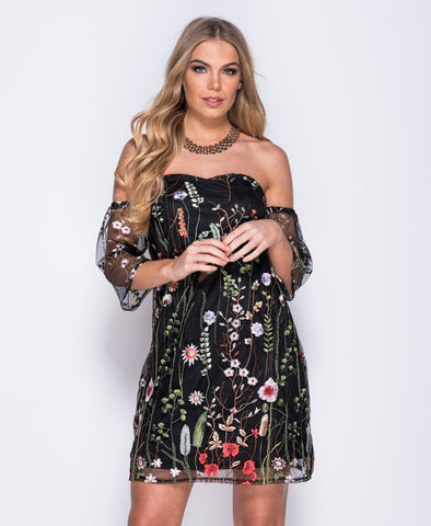 Bardot Embroidered Mesh Dress | BLACK
