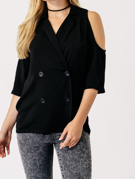 Cold Shoulder Blazer | BLACK