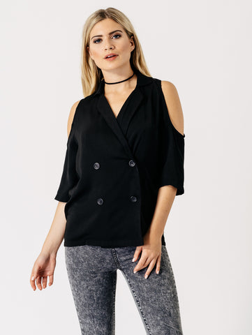 Cold Shoulder Blazer | BLACK - Wardrobe Wilderness