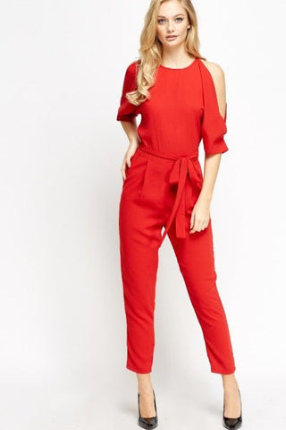 Cold Shoulder Cropped Jumpsuit | RED