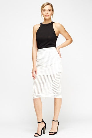 Contrast Mesh Pencil Skirt | WHITE