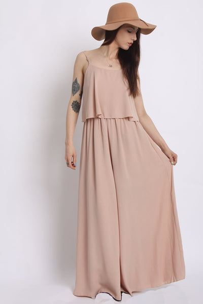 Crepe Wide Leg Jumpsuit | Nude - Wardrobe Wilderness