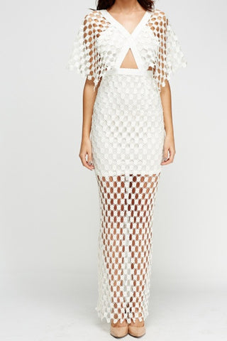 Crochet Column Maxi Dress | WHITE