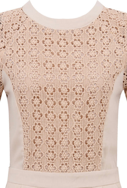 Crochet Tee Playsuit | TAUPE