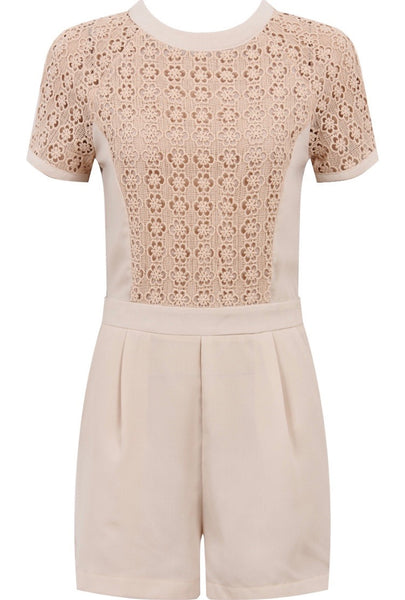 Crochet Tee Playsuit | TAUPE - Wardrobe Wilderness