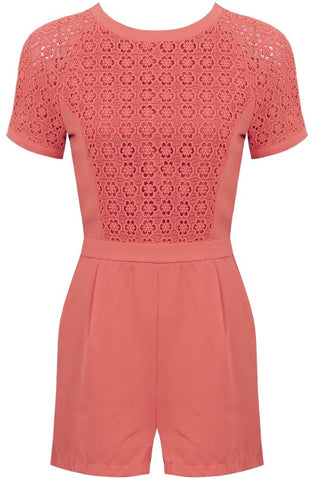 Crochet Tee Playsuit | CORAL - Wardrobe Wilderness