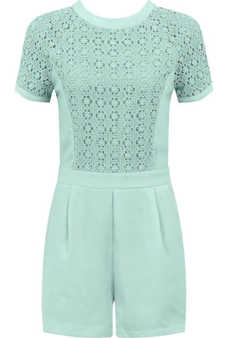 Crochet Tee Playsuit | MINT GREEN - Wardrobe Wilderness