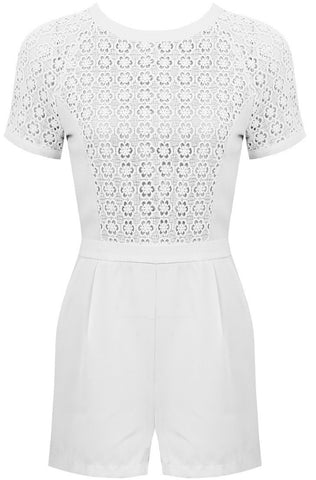 Crochet Tee Playsuit | WHITE - Wardrobe Wilderness