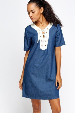 Front Lace-Up Shift Dress | DENIM - Wardrobe Wilderness