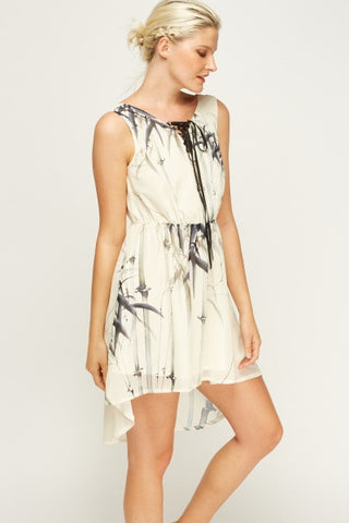 Dipped Hem Print Dress | CREAM