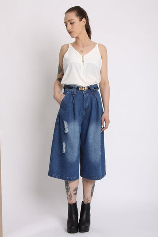 Distressed Denim Culottes | BLUE - Wardrobe Wilderness