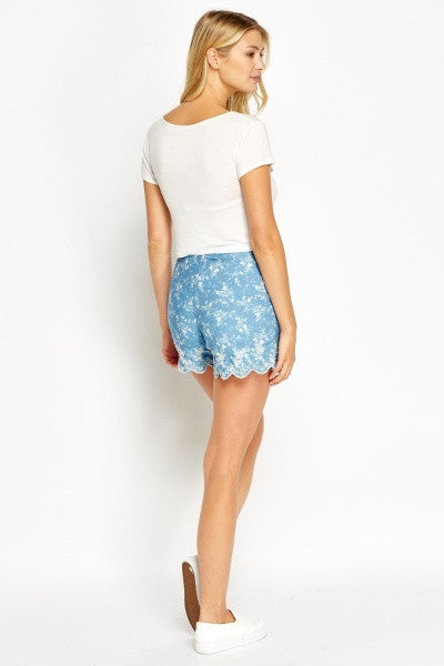 Embroidered Denim Shorts | BLUE