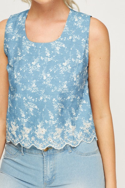 Embroidered Denim Vest Top | BLUE