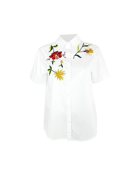 Floral Embroidered Shirt | WHITE
