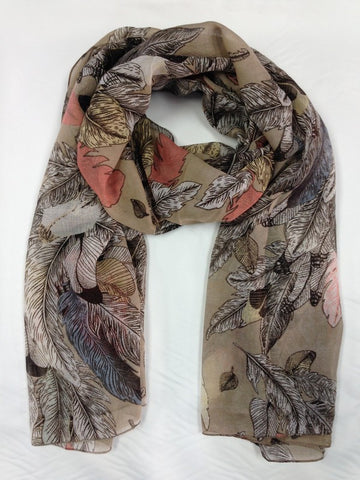 Feather Print Scarf | BEIGE - Wardrobe Wilderness
