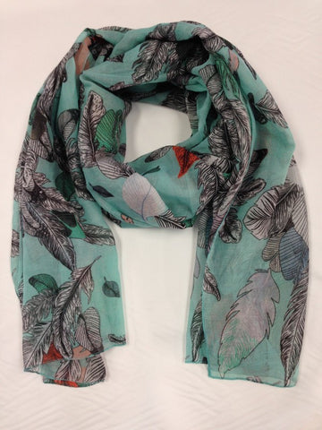 Feather Print Scarf | TURQUOISE - Wardrobe Wilderness