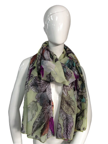 Feather Print Scarf | GREEN - Wardrobe Wilderness
