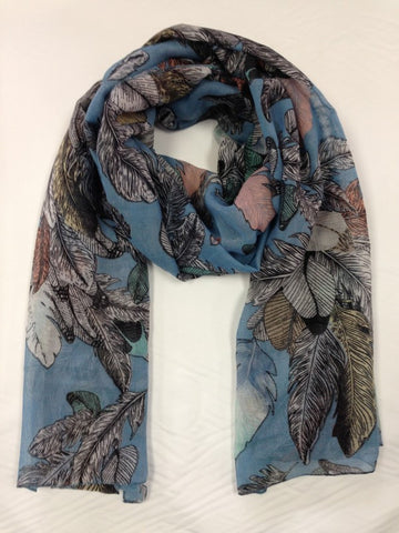 Feather Print Scarf | BLUE - Wardrobe Wilderness