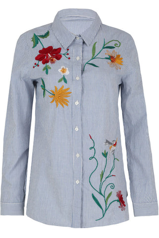 Embroidered Stripe Poplin Shirt