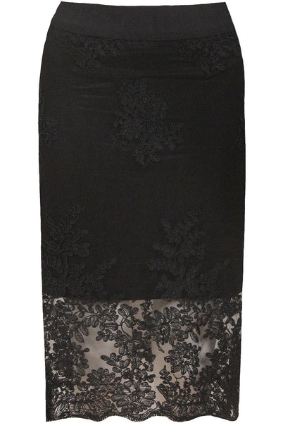 Lace Floral Pencil Skirt | BLK - Wardrobe Wilderness