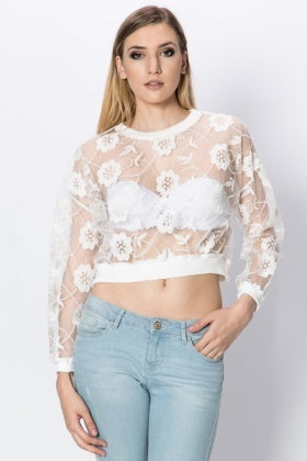 Cropped Floral Sweater | WHITE