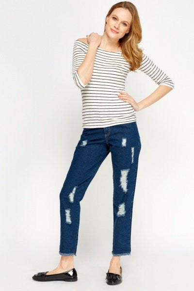 Distressed Mom Jeans | DARK BLUE