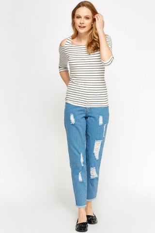 Distressed Mom Jeans | LIGHT BLUE