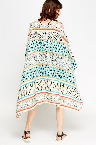 High-Low Oversized Printed Cover Up | GREEN - Wardrobe Wilderness