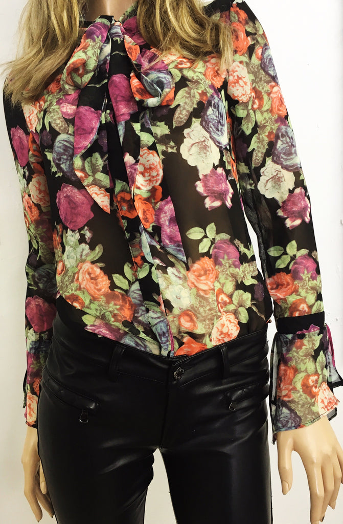 Pussy Bow Floral Blouse | BLACK - Wardrobe Wilderness