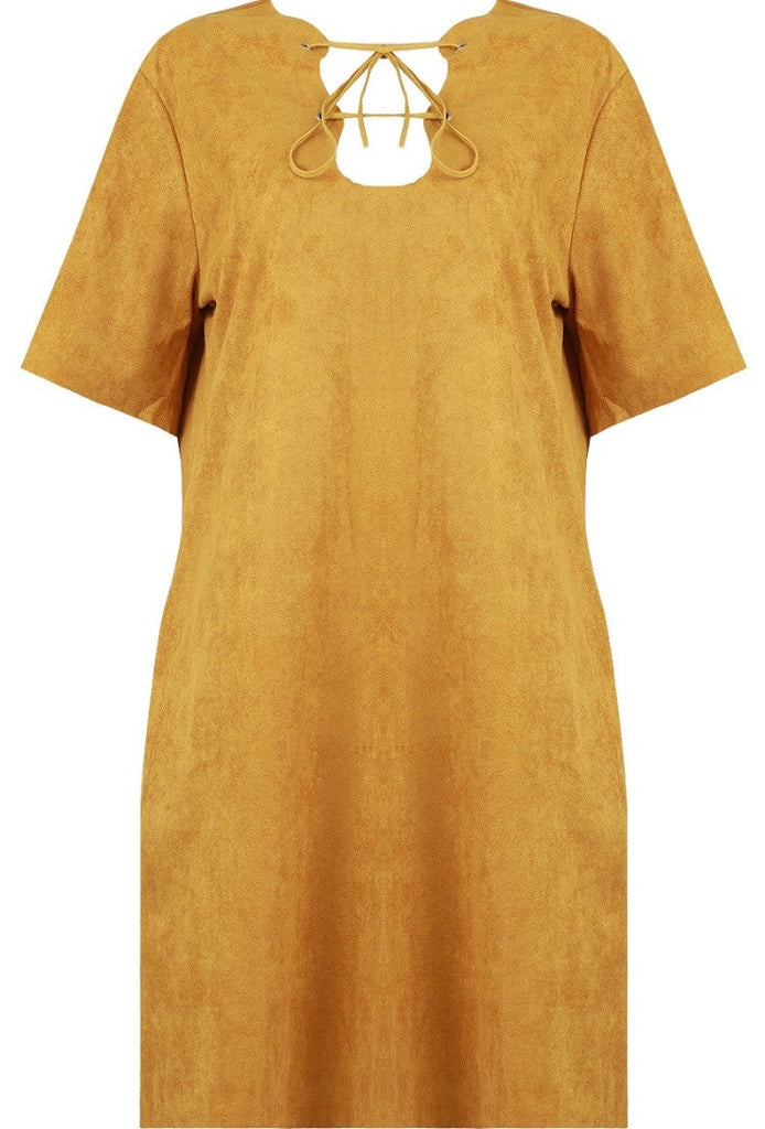 Suede Effect Lace Front Dress | MUSTARD - Wardrobe Wilderness