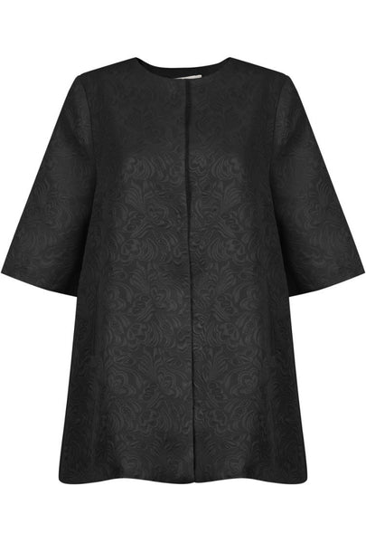 Floral Trapeze Dress Coat | BLK - Wardrobe Wilderness