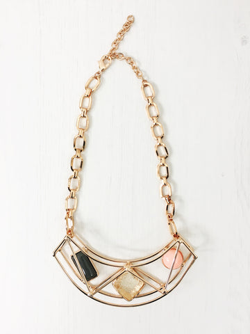 Geometric 3D Curve Necklace | ROSE - Wardrobe Wilderness