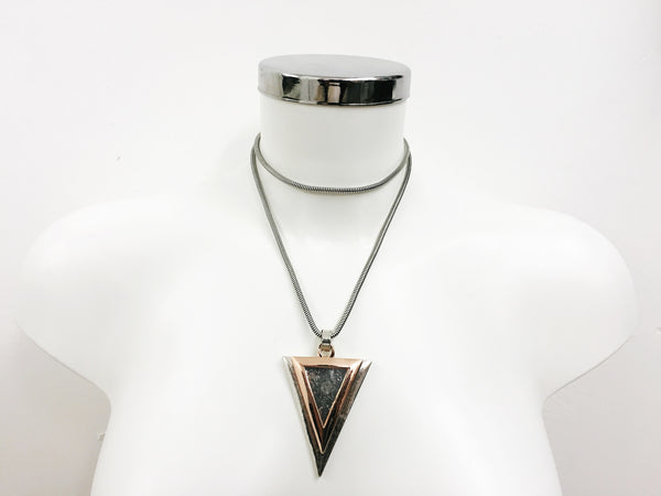Longline Geo Triangle Pendant | SILVER - Wardrobe Wilderness