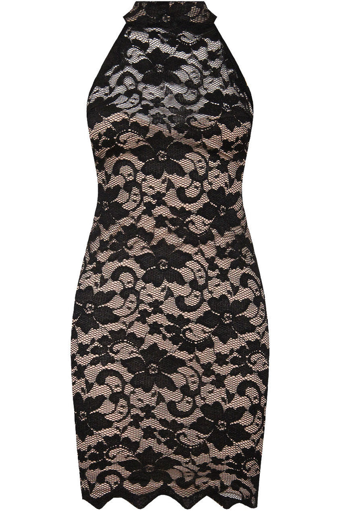 Lace High Neck Bodycon Dress | BLK/NUDE - Wardrobe Wilderness