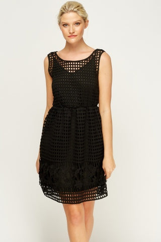 Laser Cut Skater Dress | BLACK