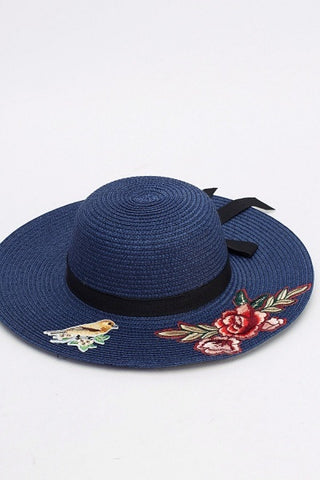 Lolita Embroidered Sun Hat | NAVY