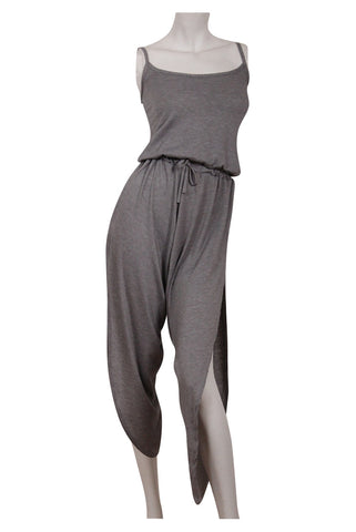 Side Split Jersey Jumpsuit | GREY - Wardrobe Wilderness