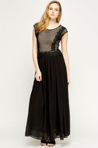 Mesh Chiffon Maxi Dress | BLACK