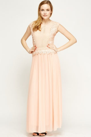 Mesh Chiffon Maxi Dress | NUDE