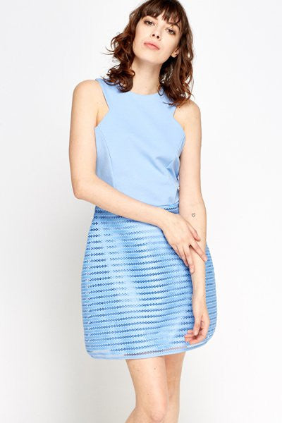 Mesh Contrast Tulip Dress | BLUE - Wardrobe Wilderness