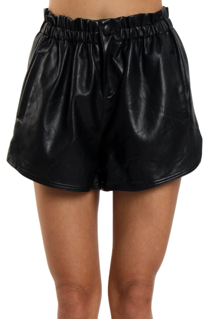 Faux Leather Track Shorts | BLACK