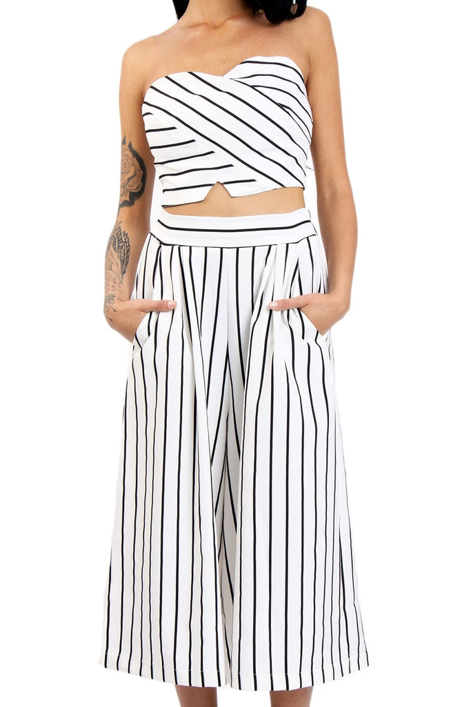 Pinstripe Bandeau Top | WHITE/BLK - Wardrobe Wilderness
