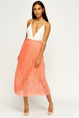 Pleated Lace Midi | CORAL