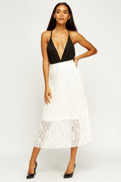 Pleated Lace Midi Skirt | WHITE