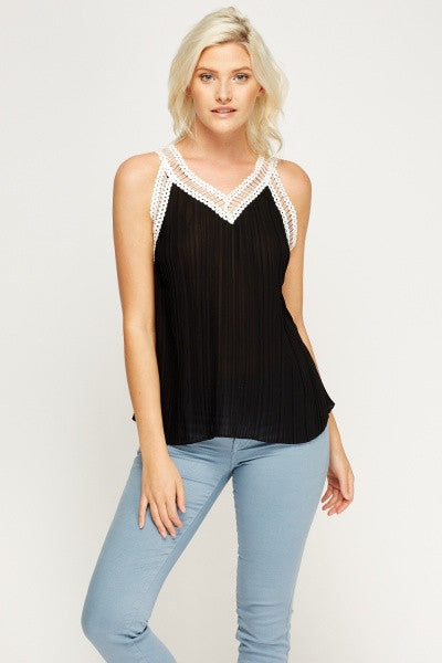 Pleated Flared Vest Top | BLACK