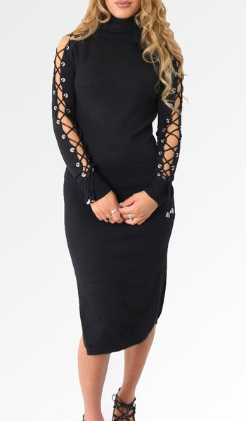 Lace-up Jumper Dress | BLACK