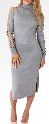 Lace-up Jumper Dress | GREY