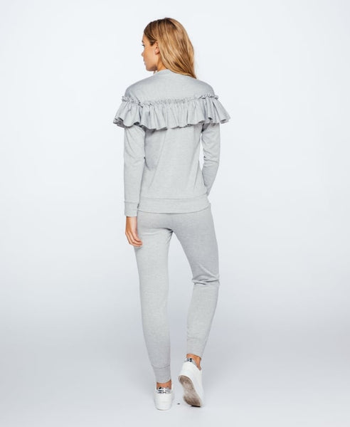 Ruffle Loungewear Co-ord | GREY - Wardrobe Wilderness